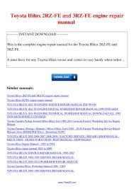 Toyota Hilux 2RZ FE and 3RZ FE engine repair manual by Nana Hong - issuu