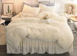 Beige Simple Style Quilting Bed Skirt 4 Piece Fluffy Bedding Sets