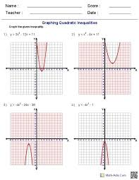 quadratic function graphing worksheet answers equation
