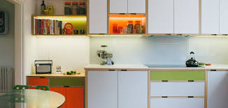 Kitchen Units For Small Spaces Birch Plywood Kitchen With Laminated Doors And Shelving Units Don