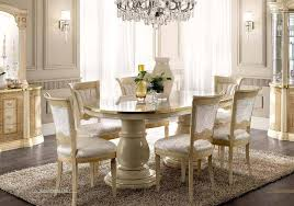 Esf Aida High Gloss Ivory Gold Finish Dining Room Set 8 Pcs Made In