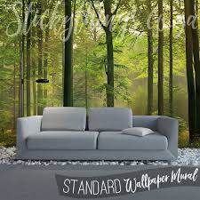 lounge with the autumn forest wall mural