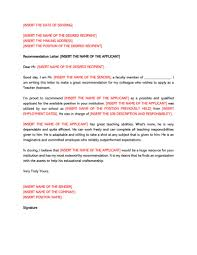 Letter Of Reccomendation Templates Recommendation Letter For A Teacher 32 Sample Letters