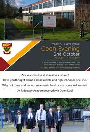 Open Evening Tuesday 2nd Oct Half Day Closing Ridgeway Academy
