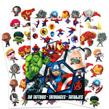 Marvel Avengers Temporary Tattoos 50 Tattoos Iron Man Thor Hulk Captain America And More By Savvi