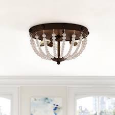 Beaded Flush Mount Ceiling Light Wrought Studio Baynes Beaded 3 Light Flush Mount Reviews