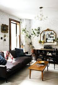 walls furniture rustic living room with painted white brick