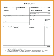 Performa Format Proforma Invoice Template Download Free Andeshouse Co