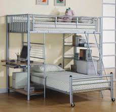 Bedroom: Fascinating Metal Bunk Bed With Desk Underneath Including Rolling  Bed - Bunk Beds With