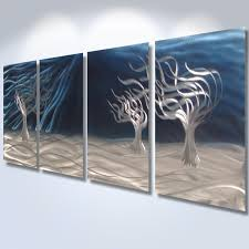 3 Trees Blue  Abstract Metal Wall Art Contemporary Modern Decor With Metal  Tree Wall Art