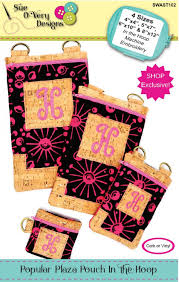 Sue O Very Designs Popular Plaza Pouch In The Hoop By Overy Sue Cork Fabric