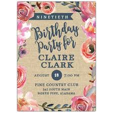 90 Birthday Party Invitations 90th Floral Grasscloth Birthday Party Invites