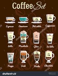 Coffee Beverage Chart Vector Set A Variety Of Coffee Drinks Cafe Menu The