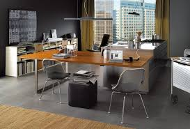 creative office desks. Office:Spacious Office Decor With L Shape Wooden Desk And Cream Curtain Also Comfy Creative Desks