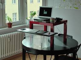 small office desk ikea stand office. Build Standing Desk | HomesFeed Creative Mounted Computer With Round Glass Dining Table As The Base Small Office Ikea Stand P