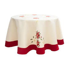 chi holiday 70 in embroidered poinsettia round tablecloth with red trim border