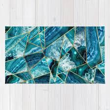 turquoise navy blue agate black gold geometric triangles rug