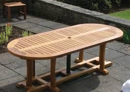 oval garden wooden patio table