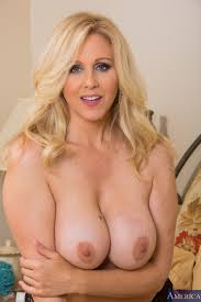 Shaved Old Mature Blonde MILF Julia Ann with Big Tits in Bed.