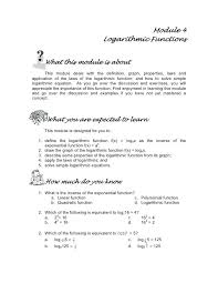 solving exponential and logarithmic equations math module 4 logarithmic functions solving exponential and logarithmic equations color