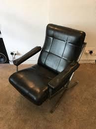 vintage black leather armchair