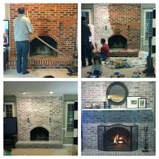whitewash brick fireplace whitewashed project and looks so much better done in less than 3
