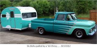 56 Aloha pulled with a 63 Chevy pickup . . . SO COOL! (http://www ...