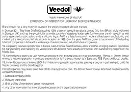 business opportunities veedol international limited