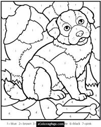 Number Coloring Pages Online Color By Numbers Dog Coloring Page For