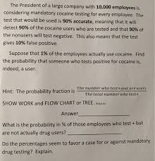 Drug Testing Flow Chart Solved The President Of A Large Company With 10 000 Emplo