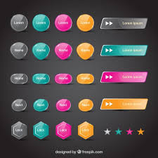 Colorful Web Buttons Vector Free Download