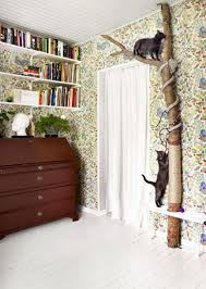 natural cat tree with mural wall