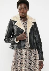 vero moda fall short faux leather jacket black