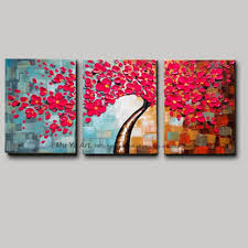 3 piece wall art flower pictures acrylic decorative hand painted decoraion painting modern abstract tree oil painting home decor in painting calligraphy