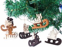 6 Tlg Set Schlitten Baumschmuck Für Den Weihnachtsbaum Christbaumschmuck Aus Natürlichem Holz