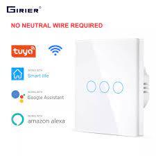Wifi duvar dokunmatik anahtarı ab hiçbir nötr tel gerekli akıllı ışık  anahtarı 1 2 3 Gang 220V Tuya akıllı ev desteği Alexa Google ev|Home  Automation Modules