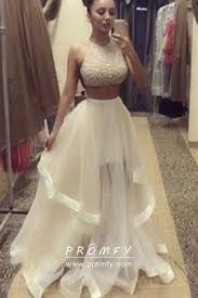 Designer Prom Dresses Ivory Glitter And Sheer Tulle Two Piece Prom Gown