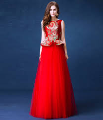 Elegant Red Brocade Top Tulle Skirt Chinese Wedding Dress Evening