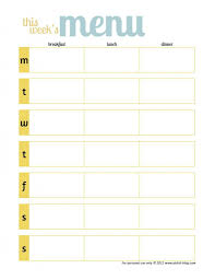 Weekly Meal Planning For One Free Printable Meal Planner Template One Wmeal Page Weekly