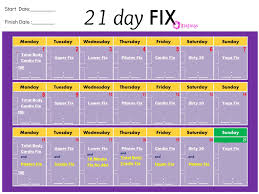 Another Easy Printable Chart Workout Calendar 21 Day Fix