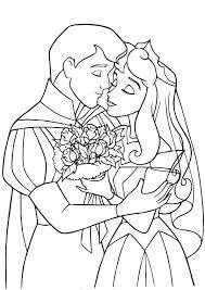 Princess Sleeping Beauty Coloring Pages The Prince Princess Wedding