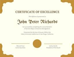 Award Of Excellence Certificate Template Delectable Cream With Brown Borders Academic Certificate Templates By Canva