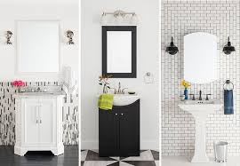 bathrooms with black and white color schemes