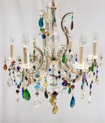 6 arm marie therese chandelier with coloured drops flowers and swags