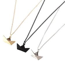 whole whole lastest fashion jewelry accessories metal paper folded flexagon faced gold ingot shaped boat ship pendant necklace cute pendant