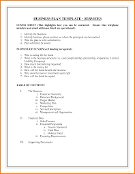6 example of business plan format job bid template business plan sample format cover sheet feat purpose of funding complete table of contents at last sample png