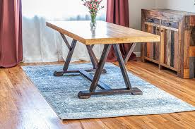 diy dining table with angled trestle legs