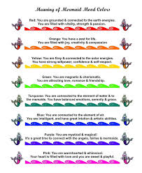 You Re In The Mood Ring Color Chart Mermaid Mood Ring With Color Chart And Organza Gift Bag