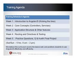 Training Agenda Angular Js Training Agenda