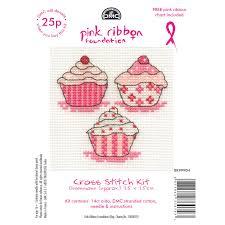 Dmc Mini Cross Stitch Kits Pink Ribbon Foundation Hearts Cupcakes Flowers